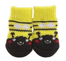 Black Temptation [Bee] 8 Pcs Lovely Knit Dog Socks Cat Socks Pet Knitted... - £12.03 GBP
