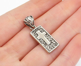 925 Sterling Silver - Vintage Shiny Faith Etched Religious Cross Pendant... - $23.84
