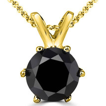 0.25 Carat 14K Yellow Gold Black Diamond 6 Prong Solitaire Necklace & Chain - $75.27