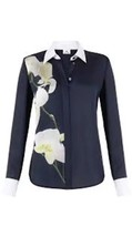 Altuzarra SHIRT For Target Navy Blue Orchid Print Blouse Top Xs Extra Small NEW - $22.49