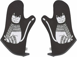 Oven Mitt Set Pair of 2 Black Cat Oven Mitts Potholders Quilted Cotton  - $39.00