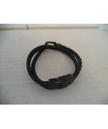 Unisex Black Handmade Weaved Leather Bracelet with Metal Clips. 8 Inches... - $11.88