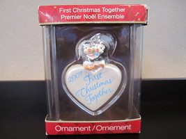 2007 Our first Christmas together ornament with box heart peguins americ... - $7.50
