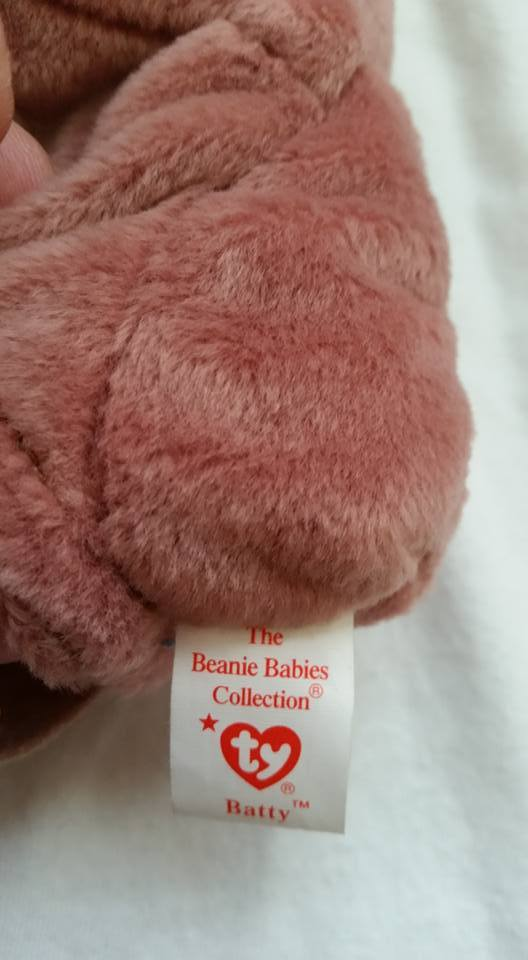 TY Beanie Babies Batty PVC PELLETS , With Errors Retired 1996 No Pink Stamp image 4