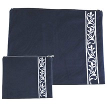 Tallit Tefillin Bag Case Set Plush Velvet Dark Blue Silver Embroidery Judaica