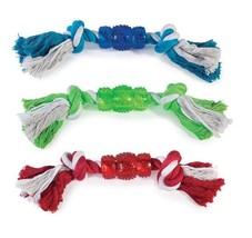 "Rope N' Rubber Hard Bones Dog Toy 10"" Long Durable Tough Tugging Chew Do... - £6.29 GBP+"
