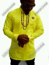 Odeneho Wear Men's Yellow Polished Cotton Top/Ankara Design. African Clothing. - $79.19+