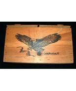 RARE 1980 Ken Michaelsen Bloomfield Farms Hand Etched Bald Eagle Wood St... - $318.75