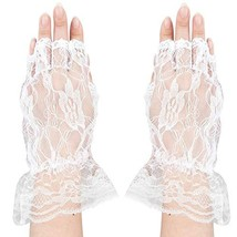 Skeleteen Fingerless Lace White Gloves - Ladies and Girls Ruffled Lace F... - £9.67 GBP