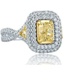 Cushion Halo 2.07Ct Diamond Engagement Ring Trillion Side 18k Gold Twist... - €4.053,91 EUR
