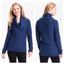 $198 XS Classiques Entier Cassandra Blue Cowl Neck Sweater Wool PP silve... - $19.94