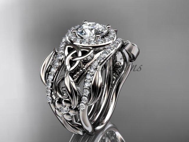 Moissanite Two Band, White Gold Diamond Celtic Trinity Knot Bridal Set CT7300S - $3,375.00