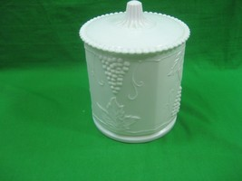 Vintage Milk Glass Ceramic Porcelain Food Storage Container Canister & Lid - $23.33