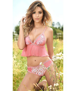Mapale Floral Applique Lace & Sheer Mesh Cami Set w/ Thong Lingerie 8227 - $32.99