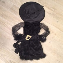 Marabou Black WITCH COSTUME DRESS & HAT - $38.61