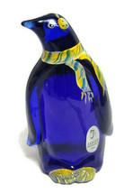 Fenton Penguin Bird Cobalt Blue Art Glass Figurine Handpainted Paperweig... - $102.95