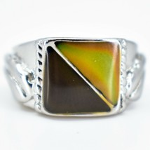 Geometric Square Triangle Color Changing Contrasting Silver Painted Mood Ring image 2