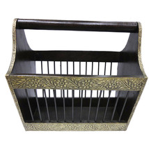 Wood and brass magazine holder - $105.00