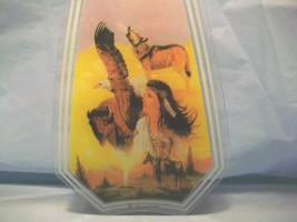 3 NATIVE AMERICAN IMAGE GLASS SUNCATCHER PANELS CEILING LIGHT FIXTURE LA... - $3.00
