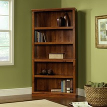5 Shelf Bookcase Furniture in Abbey Oak Finish Transitional Home Living ... - $158.39