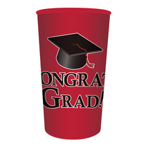 Red Graduation 22 oz Printed Plastic Cups, Case of 20 - $40.39