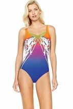 Gottex Ombre Iris Sunrise Square Neck High Back One Piece Swimsuit Size ... - $98.99