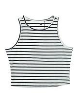 PERSUN Womens Summer Basic Black Striped Cut Away Crop Tank Top,Large - $12.25