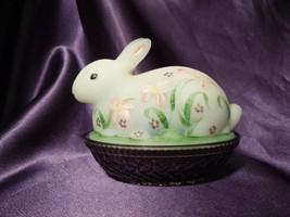 Fenton Hand Painted Burmese Easter Bunny on Nest Glass Art Trinket Box - $43.56
