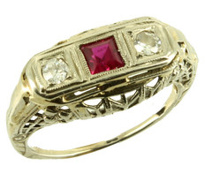Antique 14k Wh Gold 25CT H/VS2 Diamonds & Created Pink Ruby Filigree Rin... - $429.99