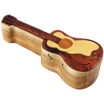 NEW Four Piece Guitar INTARSIA Wood Puzzle Box, FREE SHIPPING - $32.68