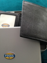 fossil trifold wallet black genuine leather with window image 7