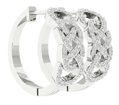 Gorgeous Cubic Zirconia 10k White Gold Ear Stud Hoop Earring - $300.00