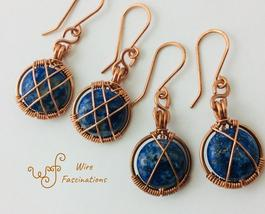 Handmade lapis earrings: copper circle frame cross wire wrapped - $29.00