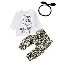 Newborn Baby Sister Girl Leopard Clothes My Mom Say No Letter White Top ... - $16.93