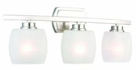 Hampton Bay Tamworth 3-Light Brushed Nickel Vanity Light w/ Frosted Glas... - $69.29