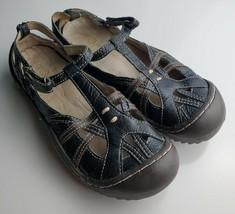 "Jambu J-41 ""Dune"" Women's Black Leather T-Strap Ankle Strap Sandals Size 6 - $37.61"