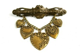 Vintage Jewelry Pin Brooch Hanging Dangle Hearts Brass - $20.54