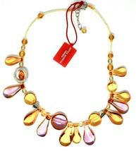 Necklace Antica Murrina Venezia with Murano Glass Lapilli Yellow Amber C... - $121.93