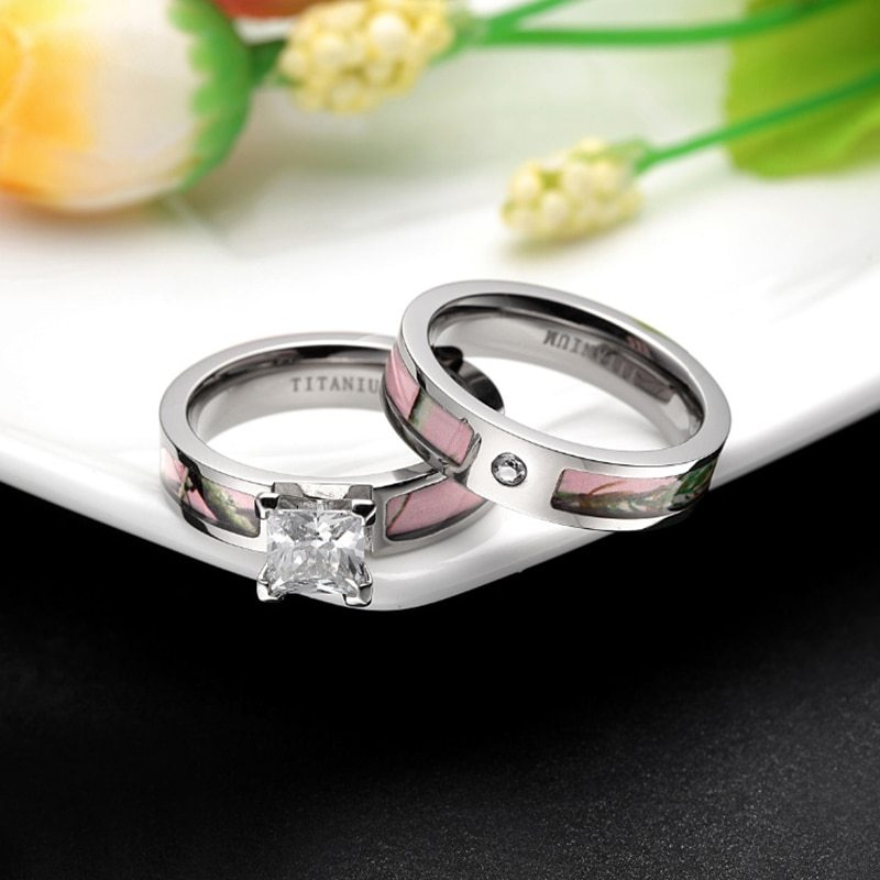 2Pcs Pink Tree Camo Inlay Titanium Couple Ring Set Women Cubic Zirconia Wedding