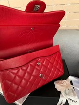 AUTHENTIC CHANEL RED CAVIAR QUILTED JUMBO DOUBLE FLAP BAG SILVER HARDWARE image 7