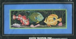 Dimensions No Count Cross Stitch Kit 3944 Exotic Tropical Fish Black Aida - $11.87