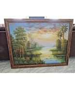 Florida sunset landscape luminism - large oil on canvas - signed W. Adams - $300.00