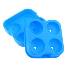 2 Pack Blue Whiskey Ice Cube Ball Maker Mold Sphere Mould Party Tray Round Bar S - $11.99