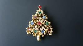 Vintage EISENBERG Christmas Tree Rhinestone Brooch 5.4cm - $69.29