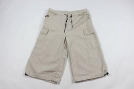 Vintage 90s Tommy Hilfiger Mens 33 Spell Out Cargo Capris Capri Pants Khaki Tan - $39.55
