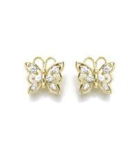 14K Gold Plated Earrings Butterfly Screw Back On Sale ! - $14.01