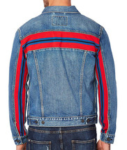 Levi's Men's Unibasic Icon Trucker Denim Red Stripe Jean Jacket image 2