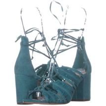 Nine West Genie Lace Up Block Heel Dress Sandals 467, Dark Turquoise, 5.... - $30.71