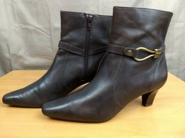 Anne Klein iflex Macadet Brown Leather Ankle Boots Zip Up 6.5M - $24.74