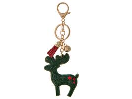 Green Reindeer Tassel Bling Faux Suede Stuffed Pillow Key Chain Handbag ... - $12.95